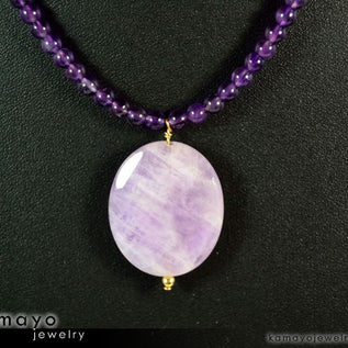 LAVENDER AMETHYST NECKLACE - Faceted Oval Pendant and Round Beads