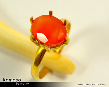 Gold Carnelian Ring - 10X8Mm Orange Carnelian Ring For Women - 18K Gold
