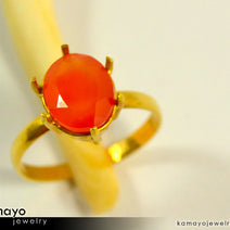 Gold CARNELIAN Ring - 10x8mm Orange Carnelian Ring for Women