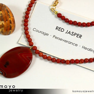 RED JASPER NECKLACE - Large Oval Red Jasper Pendant and Round Beads
