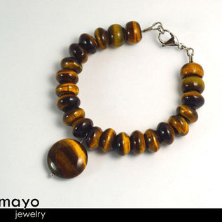 TIGER EYE BRACELET - Golden Coin Pendant and Yellow Roundel Beads