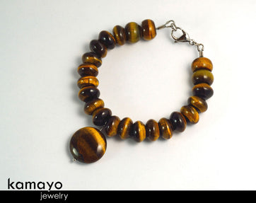 Golden Tiger Eye Bracelet - Roundel Beads