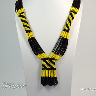 Tribal Statement Necklace - Black Ethnic Mandaya Beaded Jewelry