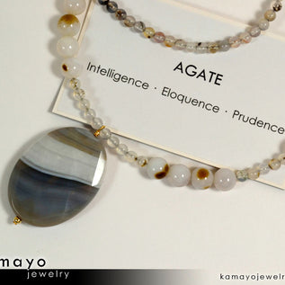 "BOTSWANA AGATE NECKLACE <span class=""subtitle subtitle-1"">- Large Grey Botswana Agate Pendant and Round Beads </span>"