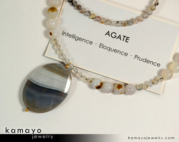 Botswana Agate Necklace - Large Grey Botswana Agate Pendant And Round Beads