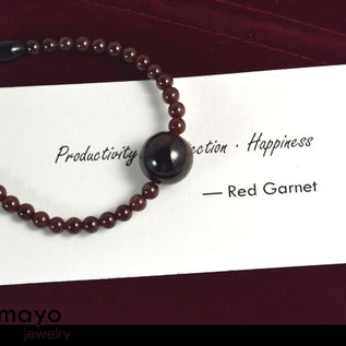 RED GARNET BRACELET - Dark Pyrope Pendant and Natural Deep Red Beads