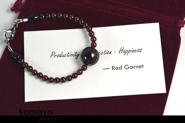 RED GARNET BRACELET - Dark Pyrope Centerpiece and Natural Deep Red Beads