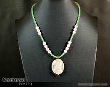 "TAURUS NECKLACE <span class=""subtitle"">- Large Rose Quartz Pendant and Green Aventurine Beads </span><span class=""findings"">- 14K Gold Filled Findings </span><span class=""length"">- 20 Inches</span>"