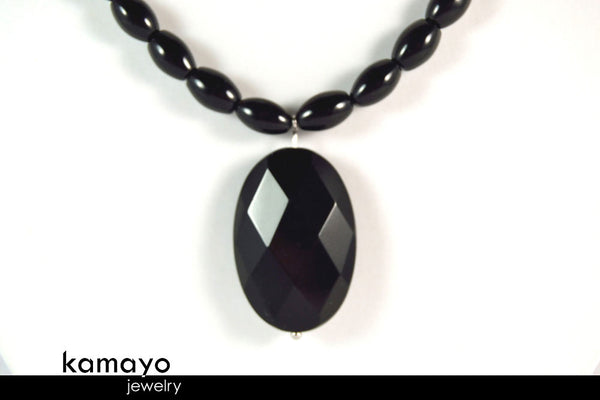 BLACK ONYX NECKLACE - Faceted Oval Pendant and Rice Beads