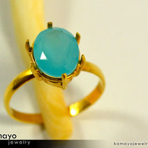 Gold CHALCEDONY Ring - 10x8mm Aqua Blue Chalcedony Ring for Women