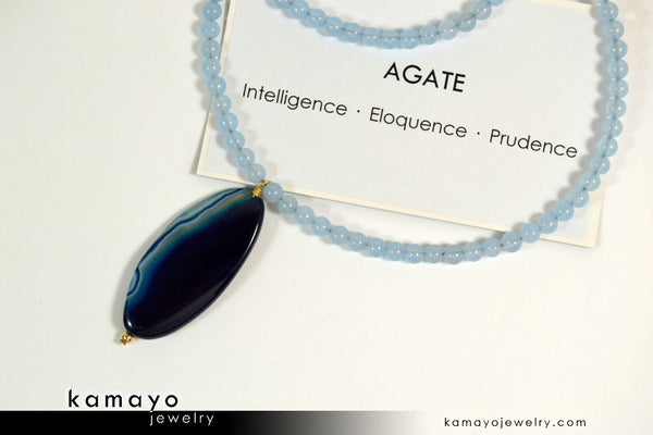 BLUE AGATE NECKLACE - Long Oval Blue Agate Pendant