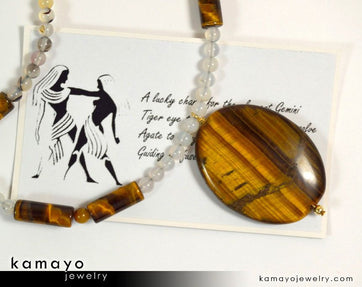 Gemini Necklace - Large Tiger Eye Pendant And Botswana Agate Beads
