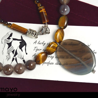 GEMINI NECKLACE - Large Oval Botswana Agate Pendant and Tiger Eye Beads