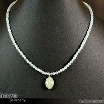 MILKY AQUAMARINE NECKLACE - Blue Green Beryl Pendant and Translucent Beads