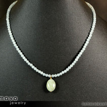 MILKY EMERALD NECKLACE - Light Green Pendant and Blue Beryl Beads