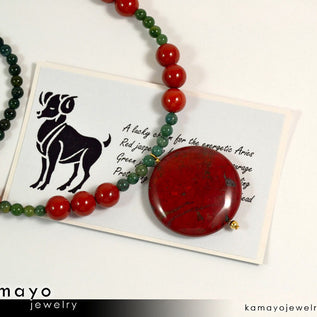 Aries Necklace - Coin Red Jasper Pendant And Green Jasper Beads