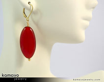 Sard (Carnelian) Earrings - Large Drop Ear Rings For Women