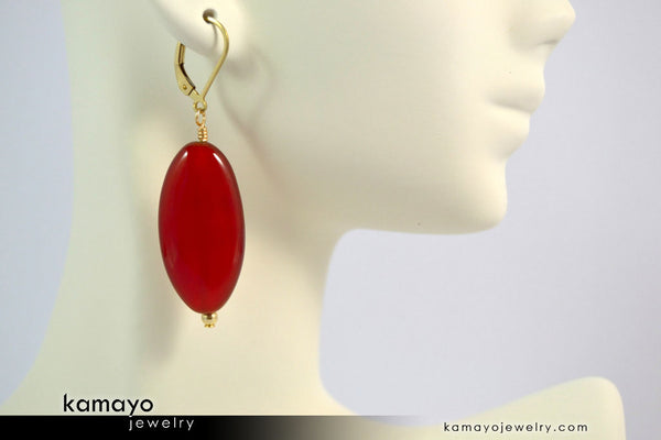 SARD EARRINGS - Long Drop Ear Rings for Women