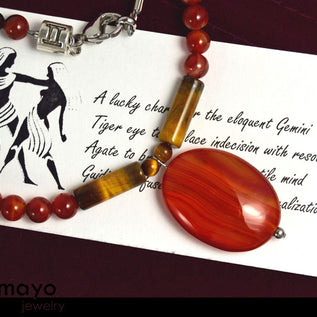 GEMINI NECKLACE - Oval Red Agate Pendant and Tiger Eye Beads