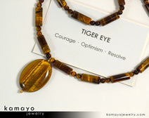 "Yellow TIGERS EYE NECKLACE <span class=""subtitle"">- Oval Tiger Eye Pendant and Golden Tiger's Eye Beads </span><span class=""findings"">- 14K Gold Filled Findings </span><span class=""length"">- 19 Inches</span>"