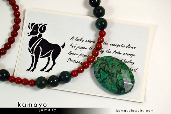 Aries Necklace - Picture Jasper Pendant And Red Jasper Beads
