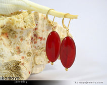 "SARD (CARNELIAN) EARRINGS <span class=""subtitle"">- Large Drop Ear Rings for Women </span><span class=""subtitle"">- Red Oval Pendant </span><span class=""findings"">- 14K Gold Filled Leverback </span>"