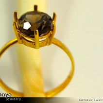 Gold SMOKY QUARTZ Ring - 10x8mm Smoky Quartz Ring for Women