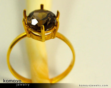 Gold Smoky Quartz Ring - 10X8Mm Smoky Quartz Ring For Women - 18K Gold