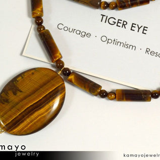 Golden Tiger Eye Necklace - Large Oval Tigers Eye Pendant And Yellow Tiger'S Eye Beads