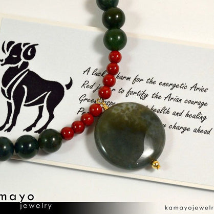 ARIES NECKLACE - Coin Green Jasper Pendant and Red Jasper Beads