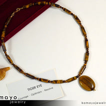 TIGERS EYE NECKLACE - Oval Golden Pendant and Yellow Beads