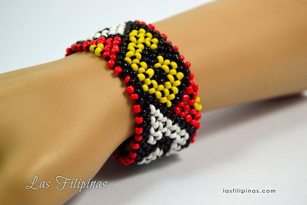 Tribal Bracelet - Wide Ethnic Mandaya Beaded Design