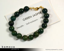 "GREEN JASPER BRACELET <span class=""subtitle"">- Round Green Jasper Beads </span><span class=""findings"">- 14K Gold Filled Findings </span><span class=""length"">- 8 Inches</span>"