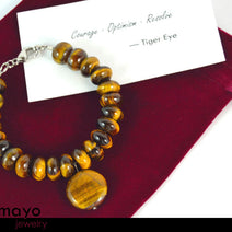 "TIGER EYE BRACELET <span class=""subtitle subtitle-1"">- Golden Coin Pendant and Yellow Roundel Beads </span>"