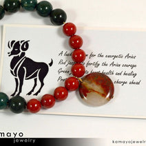 ARIES BRACELET - Coin Red Jasper Pendant and Green Jasper Beads