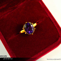 Gold AMETHYST Ring - 10x8mm-large Purple Amethyst Ring for Women