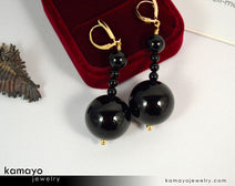 "BLACK ONYX EARRINGS <span class=""subtitle"">- Beaded Dangle Ear Rings for Women </span><span class=""subtitle"">- Large Ball Pendant </span><span class=""findings"">- 14K Gold Filled Leverback </span>"