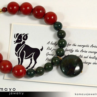 ARIES BRACELET - Coin Green Jasper Pendant and Red Jasper Beads
