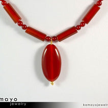 SARD (CARNELIAN) NECKLACE - Oval Pendant and Column Beads