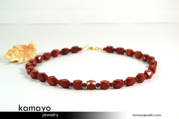 RED JASPER NECKLACE - Octagonal Beads