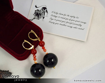 Leo Earrings - Large Black Onyx Ball And Small Sardonyx Beads