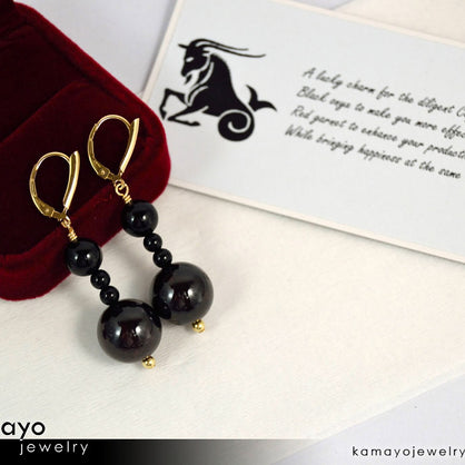 CAPRICORN EARRINGS - Large Dark Red Garnet Ball and Small Black Onyx Beads