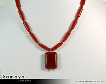 "SARD (CARNELIAN) NECKLACE <span class=""subtitle"">- Rectangle Pendant and Column Beads </span><span class=""findings"">- 14K Gold Filled Findings </span><span class=""length"">- 18 Inches</span>"