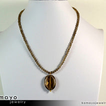 SMOKY QUARTZ NECKLACE - Faceted Oval Pendant and Round Beads