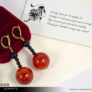 Leo Earrings - Large Sardonyx Ball And Small Black Onyx Beads