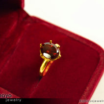 Gold GARNET Ring - 10x8mm Red Garnet Ring for Women