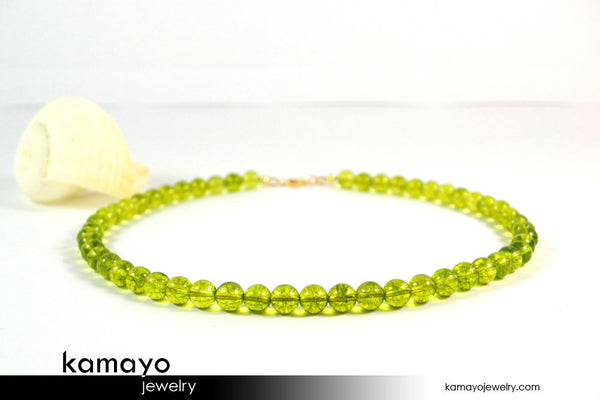 OLIVE QUARTZ NECKLACE - Men's Choker or Princess Necklace for Women