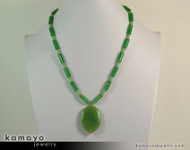 "GREEN AVENTURINE NECKLACE <span class=""subtitle"">- Large Oval Aventurine Pendant and Round Beads </span><span class=""findings"">- 14K Gold Filled Findings </span><span class=""length"">- 20 Inches</span>"