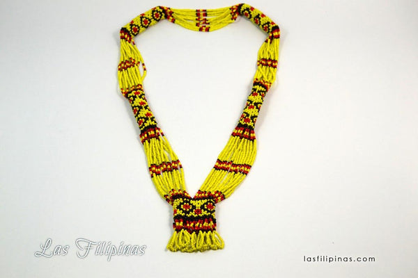 Tribal Statement Necklace - Yellow Ethnic Mandaya Beaded Jewelry