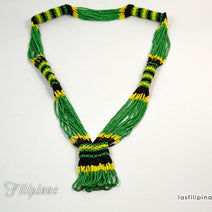 Tribal Statement Necklace - Green Ethnic Mandaya Beaded Jewelry
